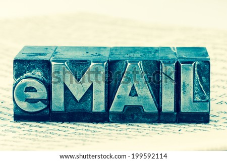 "the word ""e-mail"" in lead letters written. symbolic photo for quick correspondence - stock photo"