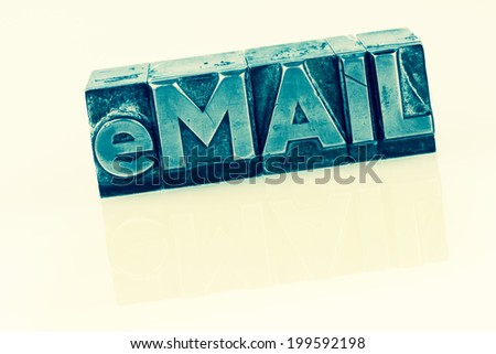 """the word """"e-mail"""" in lead letters written. symbolic photo for quick correspondence - stock photo"""