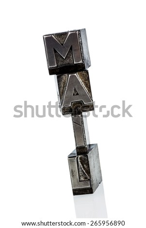 the word e-mail letters written in lead. photo icon for quick correspondence - stock photo