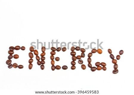 the word energy is lined with coffee beans on a white background