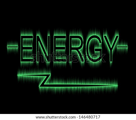 the word energy with a green glow on a black background