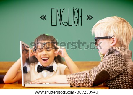 The word english against cute pupils dressed up as teachers in classroom - stock photo