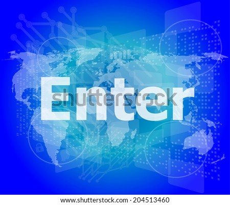 The word enter on digital screen, business concept - stock photo