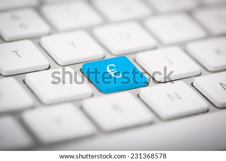 "The word ""EURO"" written on metallic keyboard"