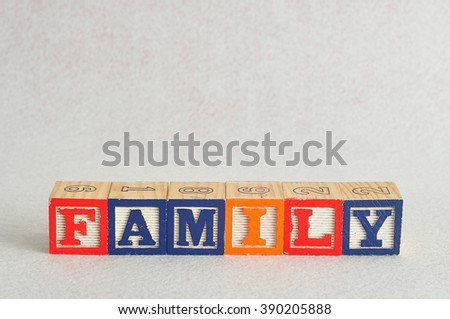 The word family spelled with colorful alphabet blocks isolated against a white background - stock photo