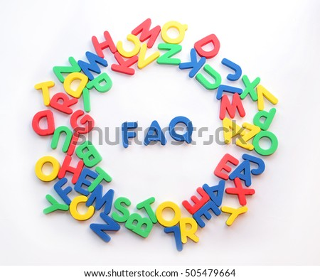 the word FAQ made of colorful letters on white background, flat lay, top view