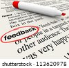 The word Feedback circled in a dictionary with definition representing opinions, criticism, survey response and other words and phrases - stock photo