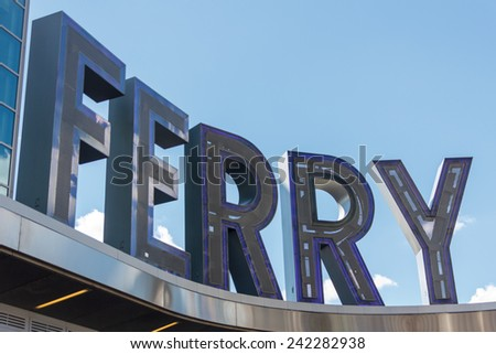 "The word ""Ferry"" in the Staten Island Ferry sign in New York, NY, USA. - stock photo"