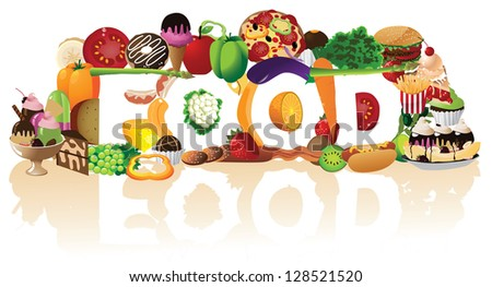 The word Food Spelled By A Pile of Foods. JPG - stock photo