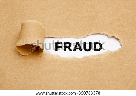 The word Fraud appearing behind torn brown paper.  - stock photo