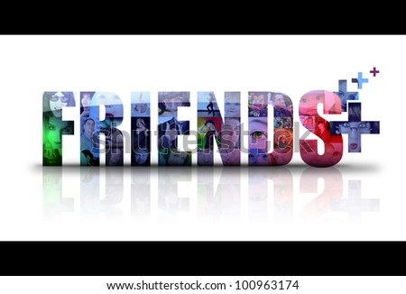 the word Friends is isolated on a white background with different people in photos for the background. There is a add sign for new friends. use it for a social media concept. - stock photo