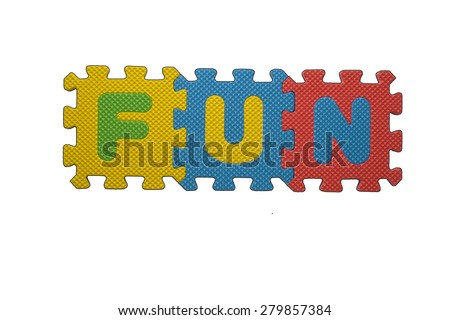 """The word """"FUN"""" written with alphabet puzzle letters isolated on white background. Alphabet puzzle pieces on white background - stock photo"""