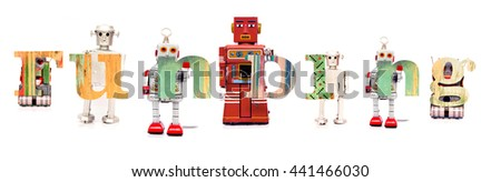 The word funding with retro robot toys - stock photo