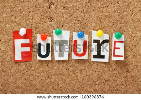 French word bonjour cut out magazine stock photo 200838617 the word future in cut out magazine letters pinned to a cork notice board we publicscrutiny Choice Image