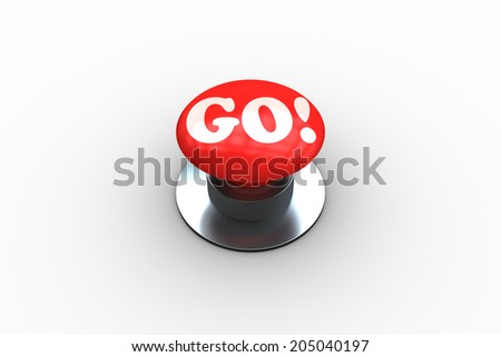 The word go on digitally generated red push button