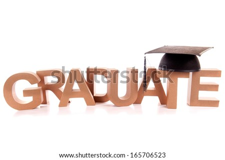 "The word "" graduate "" with the hat on a white background"