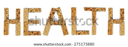 The word Health from muesli bars isolated on white background