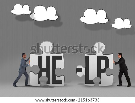 The word help and businessman pushing against grey jigsaw pieces