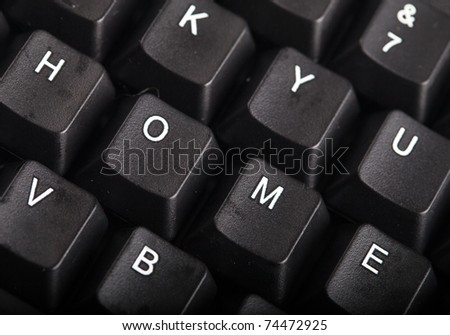 The word home written on a keyboard