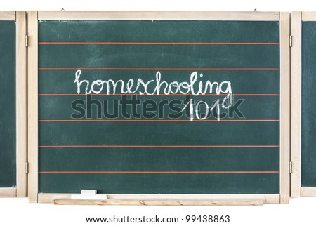 The word homeschooling and numbers 101 written on a chalkboard