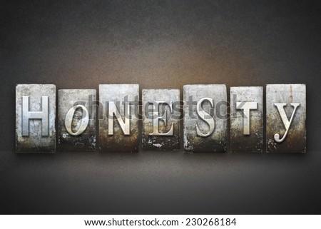 The word HONESTY written in vintage letterpress type - stock photo