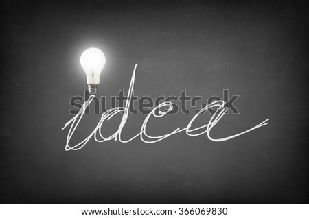 The word idea written on a blackboard with a bulb on the I letter - stock photo