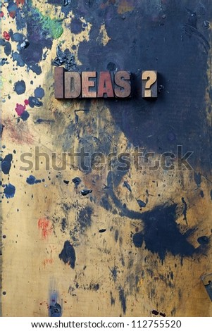 The word Ideas? written in antique letterpress printing blocks. - stock photo