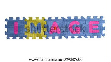 """The word """"image"""" written with alphabet puzzle letters isolated on white background. Alphabet puzzle pieces on white background - stock photo"""