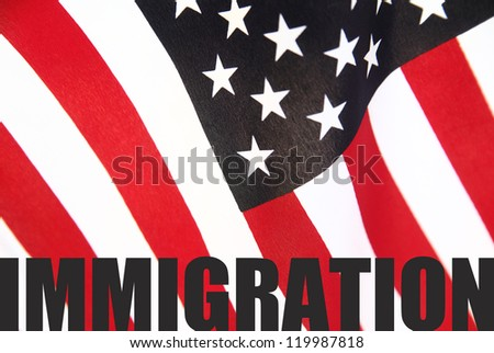 the word 'immigration' on a U.S. flag