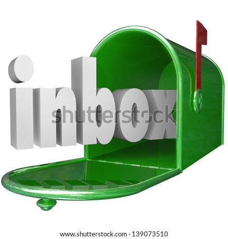 The word inbox in a green metal mailbox to illustrate incoming messages - stock photo