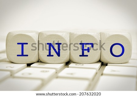 the word info on cubes on a keyboard