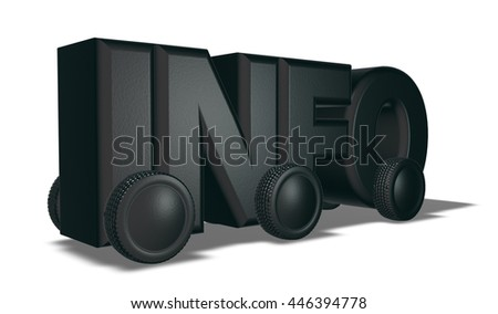 the word info on wheels - 3d illustration - stock photo