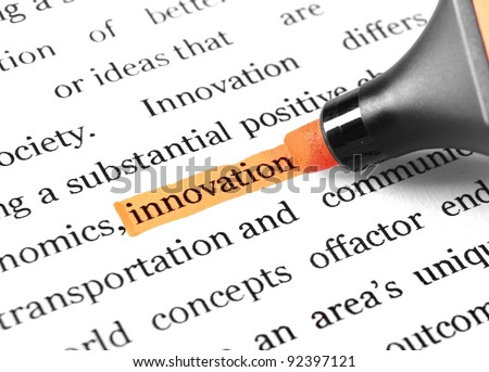 The word 'Innovation' highlighted in orange with felt tip pen