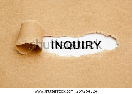 The word Inquiry appearing behind torn brown paper.  - stock photo