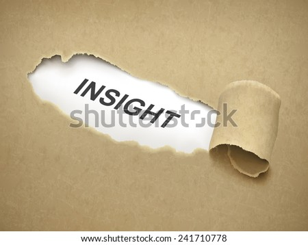 the word insight behind brown torn paper - stock photo