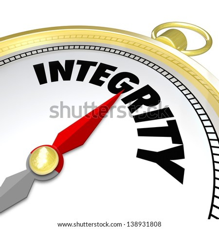 The word Integrity on a gold compass pointing the way to sincerity, honesty, truthfulness and a good reputation - stock photo
