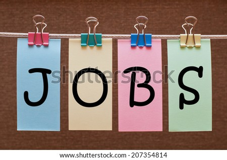 The word Jobs written on colorful note papers. Employment concept. - stock photo