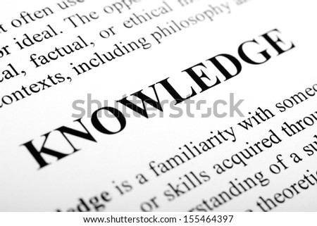 The word Knowledge shot with artistic selective focus.