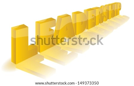 the word LEADERSHIP as golden 3D perspective illustration icon or symbol with a large fading front mirror like reflection