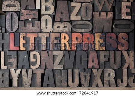 The word 'Letterpress' written out in very old letterpress blocks. - stock photo