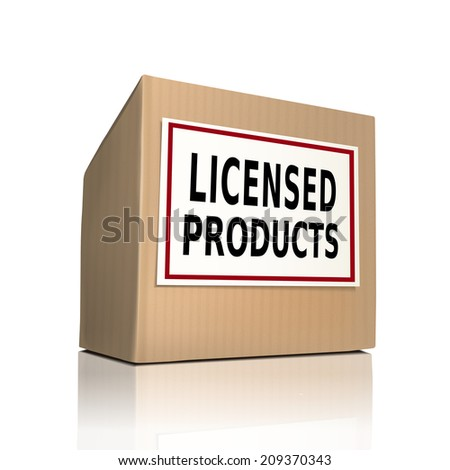 the word licensed products on a paper box over white background