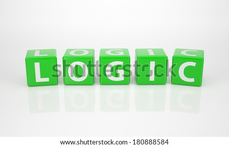 The Word Logic out of green Letter Dices - stock photo
