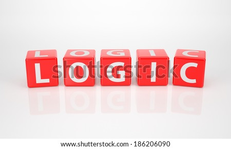 The Word Logic out of red Letter Dice - stock photo