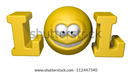 the word lol with smiley - 3d illustration - stock photo