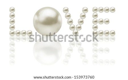 the word LOVE is written with pearl - stock photo