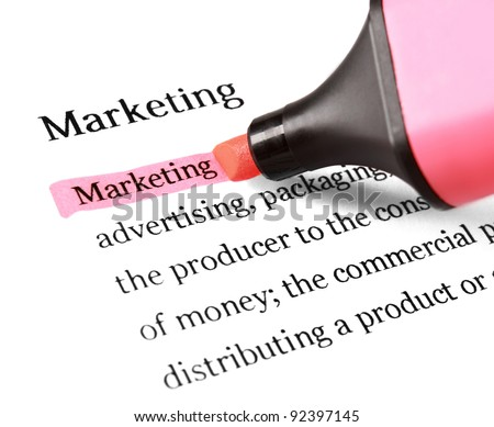 The word 'Marketing' highlighted in red with felt tip pen