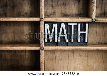 "The word ""MATH"" written in vintage metal letterpress type in a wooden drawer with dividers. - stock photo"