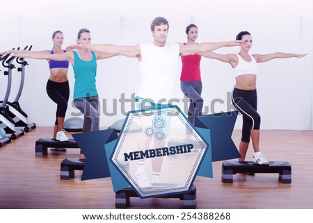 The word membership and fitness class performing step aerobics exercise against hexagon - stock photo