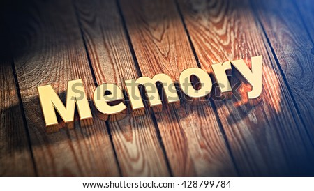 "The word ""Memory"" is lined with gold letters on wooden planks. 3D illustration image"