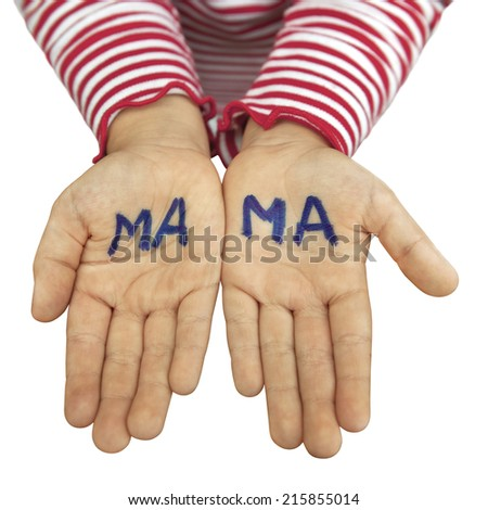 The word mom written in blue letters on the children's hands. - stock photo